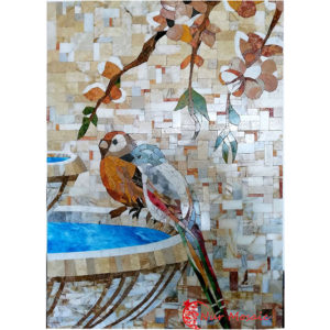 stone mosaic decoration parrot