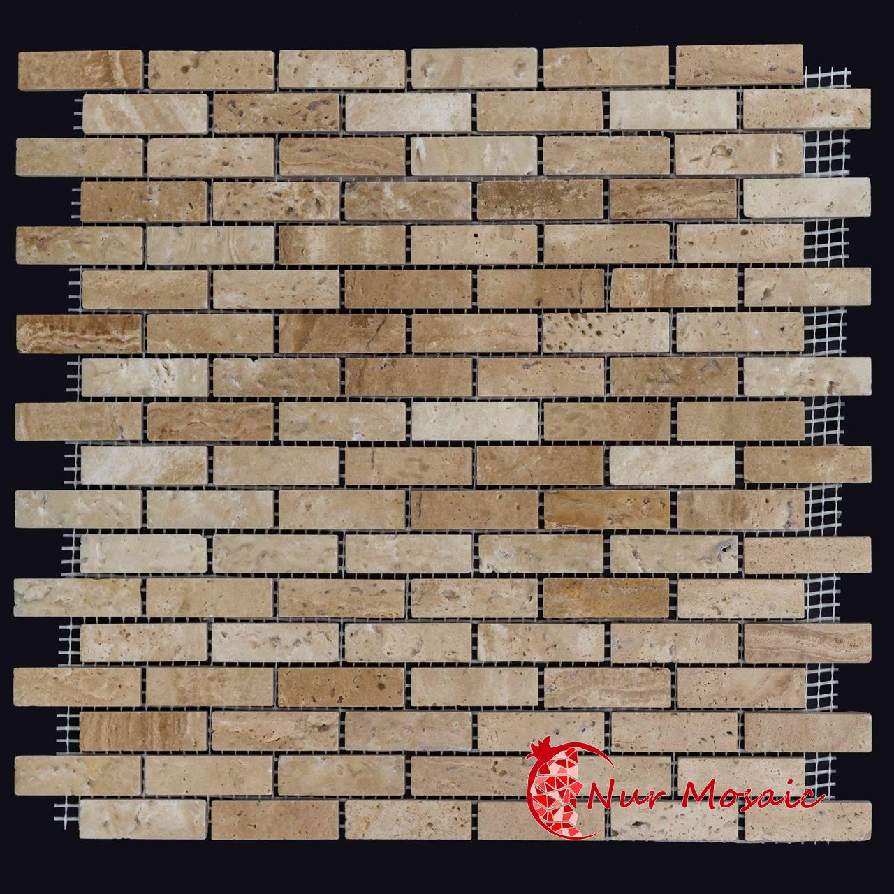 Travertine Brick Mosaic Tile Light Beige Nurmosaic